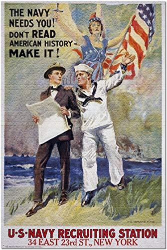Romance-and-Beauty US Navy - Die Marine braucht Dich - Vintage Werbung (Puzzle für Erwachsene) 500 Stück