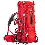 Ubon 50+10L Hiking Daypack Waterproof Ourdoor Pack with Adjustable Torso Red