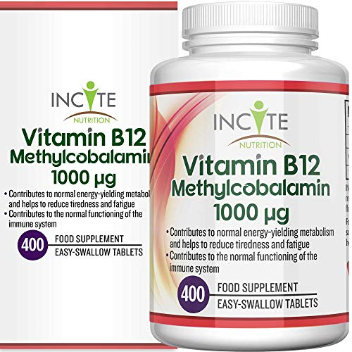 Vitamin B12 1000mcg | Methylcobalamin 400 Easy Swallow Vegan Tablets (13 Month's Supply) | High Strength Quality Vitamin B12 | Suitable for Vegetarian | Made in The UK by Incite Nutrition