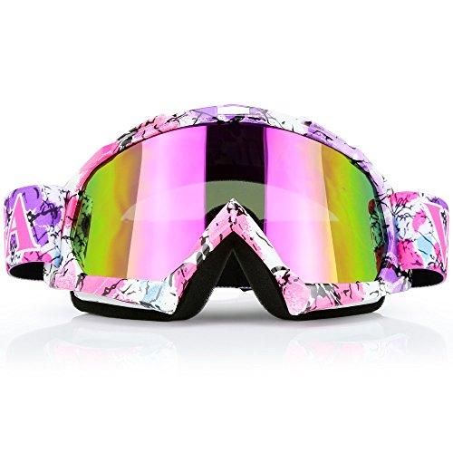 Pink Motocross Motorcycle Goggles Dirt Bike ATV Racing Mx Goggles for Men Women Youth Kids (C42)