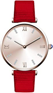 Waterproof Watch Blue Purple Red Woman Girl Lady Student Elementary Diamond Water Diamond British Watch Leather Strap Fashion Raincoat 3ATM Decoration 3ATM (Color : Red)