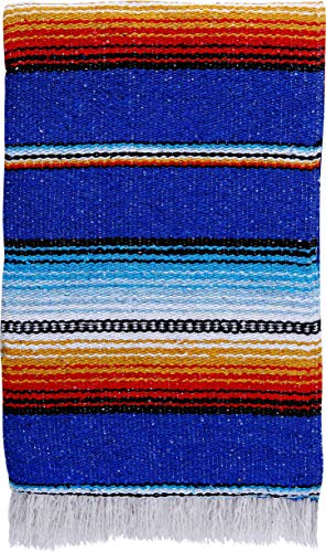 El Paso Designs Made in Mexico Classic Mexican Hand Woven Serape Yoga Blanket - 78' x 51' (Royal Blue)