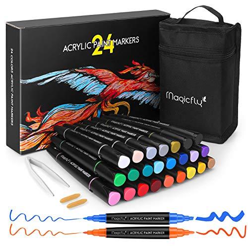 Magicfly Marcadores de Pintura Acrílica 24 colores, Kit de Rotuladores de Pintura...