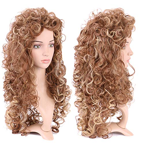 S-noilite Long Synthetic Wigs Curly Fluffy Hair Curly Wavy Spiky Wig with Bang for Boys Girls Heat Resistant Cosplay Wig for Halloween Christmas Party Anime Costume 26'(Brown Blonde)
