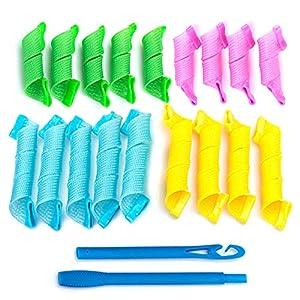 Cabello Rizadores Conjunto Rulos 18 Piezas Conjunto,Rulos para el Pelo,Rulos Flexibles,Rizadores mágicos para el cabello con gancho para peinar