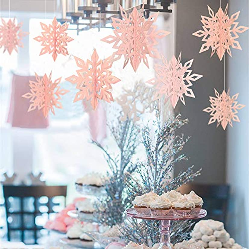 Get Orange 24PCS 3D Stereoscopic Snowflake Christmas Hanging Christmas Party Decoration String Paper Garland Wedding Birthday Party Baby Shower Background Winter Decorative (Pink)
