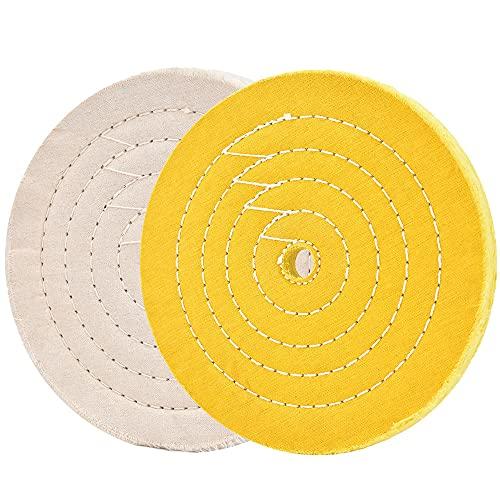 Rueda de pulido de pulido de 8 pulgadas blanca (70 capas) y amarilla (42 capas) para herramientas de amoladora de banco con orificio de eje de 5/8 pulgadas 2 piezas