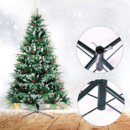 Haokanba Christmas Tree Stand Heavy Duty Artificial Christmas Tree Base for Fake Trees Less Than 1' in Diameter - Collapsible Metal Universal Tree Stand for Xmas Tree Up to 50 Lbs (23.6 inch)