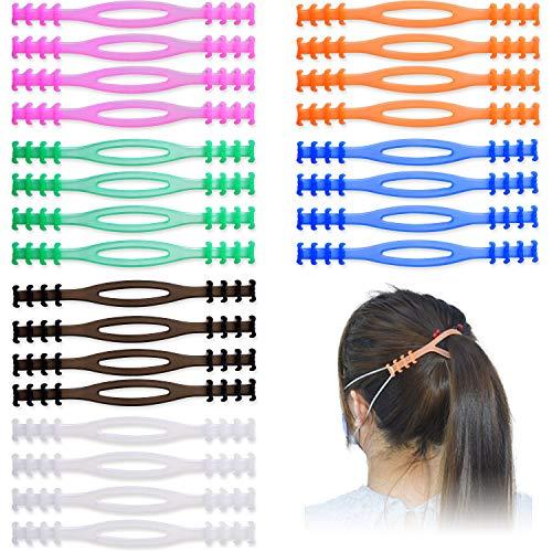 24 Stück Maskenhalter Maskenhalterung hinterkopf verstellbare Ohrriemen, rutschfeste Ohrschlaufen, Verlängerungsbänder, Ohrhaken, elastisches Band, Kordelhalter für Staubarbeiter