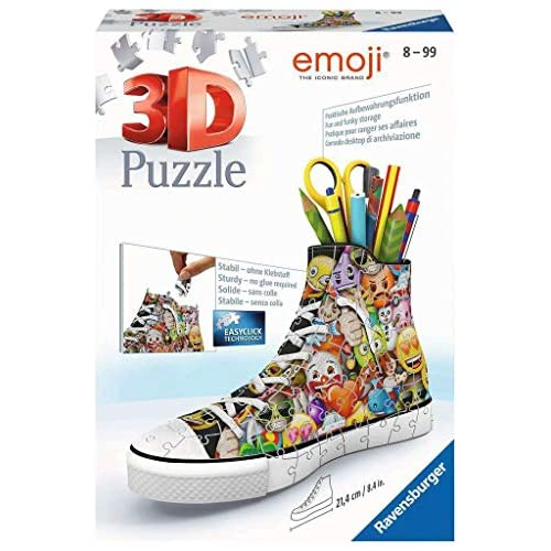 Ravensburger Italy Puzzle 3D Sneaker Portapenne Emoji, 108 Pezzi, 11218