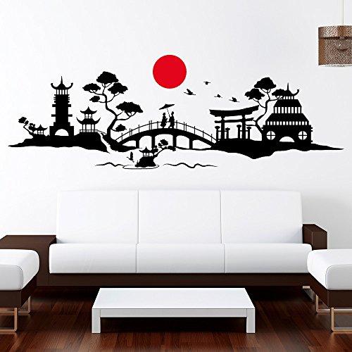 """Wandtattoo-Loft Skyline """"Japan"""" - Wandtattoo Fernost / 49 Farben / 3 Größen/ 2farbig – Sonnensymbol ist Immer rot, Bitte wählen Sie die Farbe für das Hauptmotiv! / schwarz / 80 x 235 cm"""