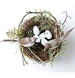 PRsellings Simulación Fake Bird Nest Adorno De Escritorio Fotografía Naturaleza 13cm Circle Cage Set Atrezzo Jardinería Decoración Huevo Amarillo 13cm / 5.11in Nido de 13 cm Suite Whit