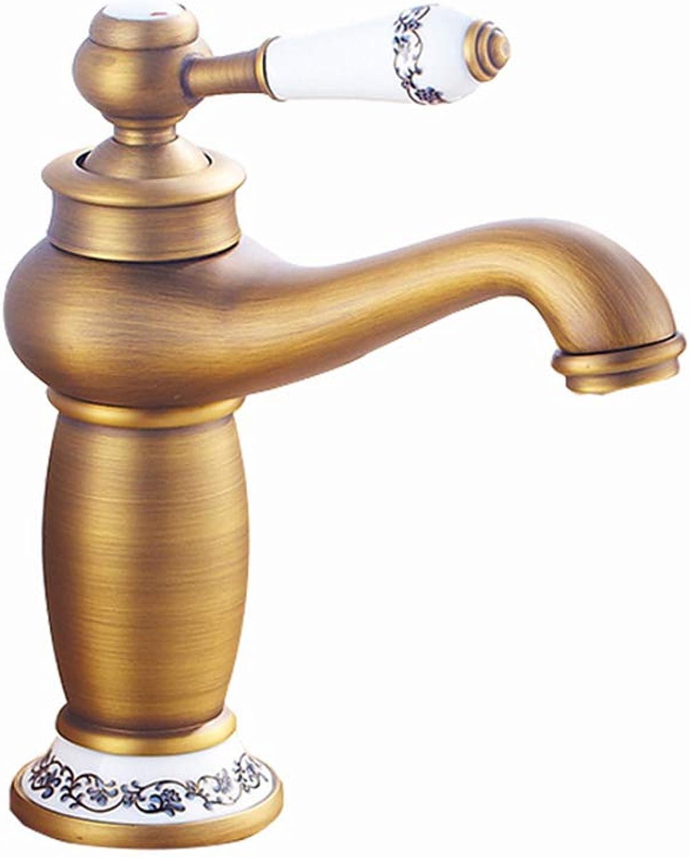 DeLongKe European Copper Basin Faucet European Antique Hot and Cold Double Open Basin Faucet Faucet bluee And White Porcelain Faucet,A