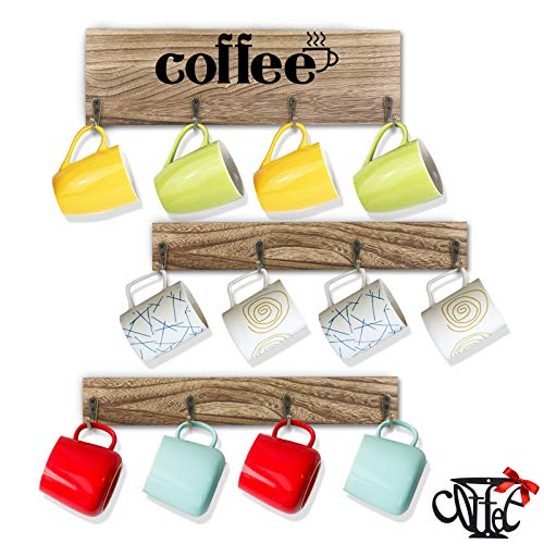 DeCuLo Coffee Mug Holder Coffee Mug Rack Wall Mounted Rustic Style Wooden Coffee Cup Holder with 12 Hooks for Home Kitchen Display Storage and Collection Brown