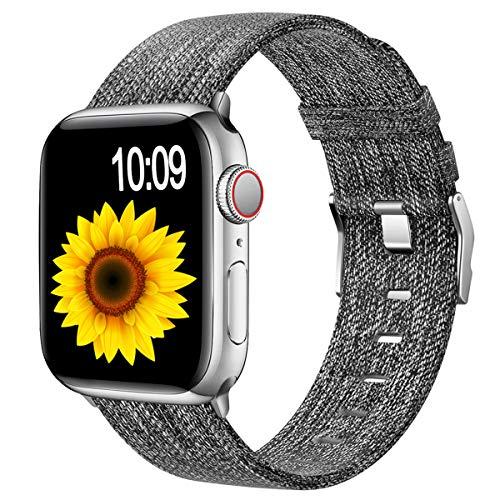Wepro - Cinturino di ricambio per Apple Watch, 44 mm e 42 mm, in nylon, con fibbia in acciaio inox, per iWatch/Apple Watch SE/Series 6 5 4 3 2 1, colore: Nero/Grigio