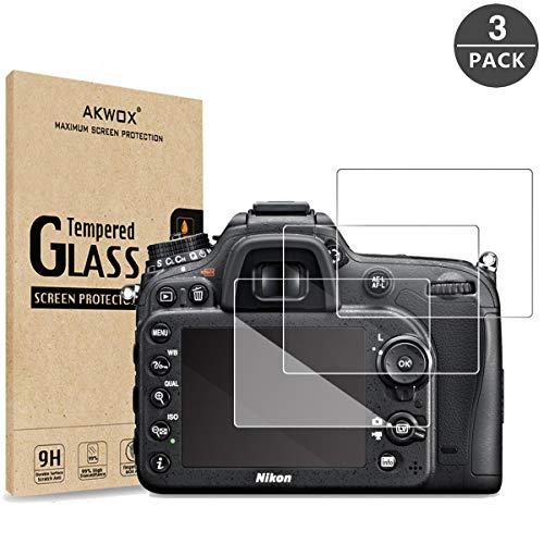 [3 Unidades] Protector de Pantalla para Nikon D3400 D3300 D3200 D3100 AKWOX [9H Dureza] Cristal Vidrio Templado para Nikon D3400 D3300 D3200 D3100 Cristal Templado