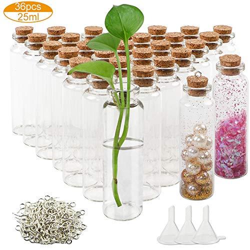 CDWERD 36 Stücke 25ml Glasflaschen mit Korken Stoppen, Kleine Glasflaschen mit 120 Augenschrauben und 3 Stück Kleine Trichter