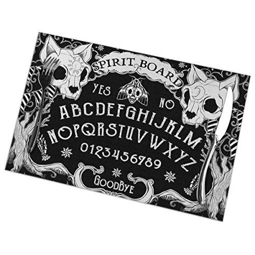 hfdff Tischsets 6er-Set - Kaffeetischmatten, wasserdicht für Esstisch und Holztisch, schmutzabweisende, wärmeisolierende, rutschfeste Tischsets (Cat Skull Head Hexenbrett Black Gothic), 30 x 45 cm