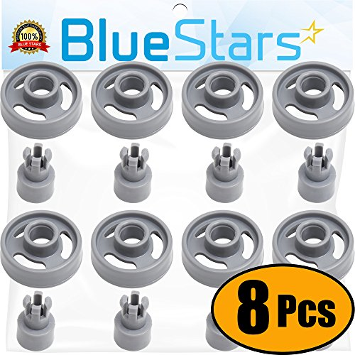 Ultra Durable WD12X10231 Dishwasher Lower Rack Wheel And Stud Replacement part by Blue Stars – Exact Fit For General Electric Dishwashers – Replaces 1263942 AP3994981 PS1481883 - PACK OF 8