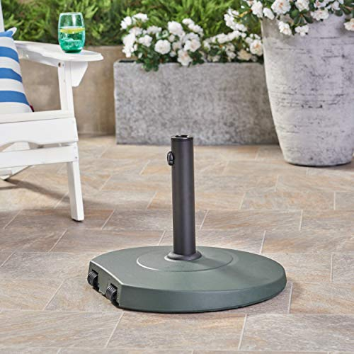 Christopher Knight Home Caiden Outdoor 59.5lb Concrete Circular Umbrella Base with Aluminum Collar, Dark Green