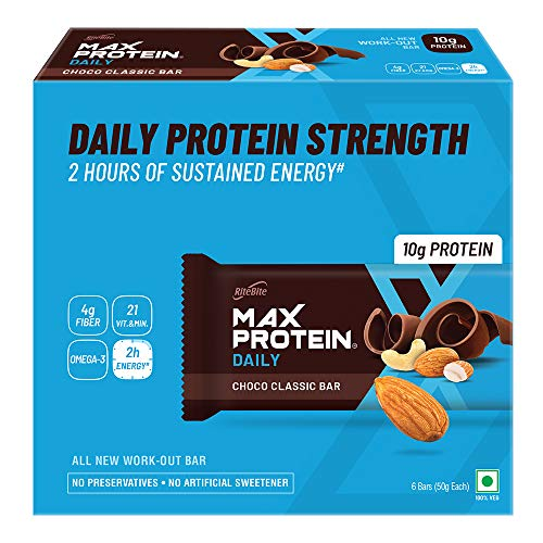 Ritebite Max Protein Daily Choco Classic Bars 300g - Pack of 6 (50g x 6)