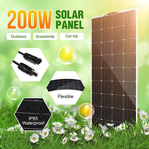 HMLIGHT Las células de la Placa Panel Solar Flexible 200W 18V Cargador Solar para el Barco de la batería de Coche de 12 V de energía de Sun silicio monocristalino Módulo