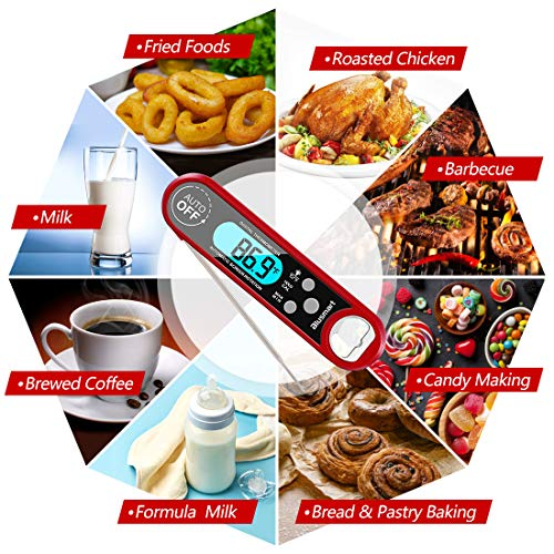 Meat Thermometer, Blusmart Instant Read Cooking Thermometer with IP67 Waterproof & Backlight LCD Screen, Digital Food Thermometer Perfect for Kitchen Cooking, BBQ,Sweets,Smokers,Milk