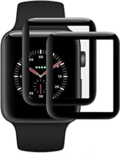 baozai Compatible with Apple Watch Series 5 Series 4 40mm, Curved Full Coverage Tempered Glass Screen Protector for iWatch Series 5 Series 4-40mm [2-Pack]