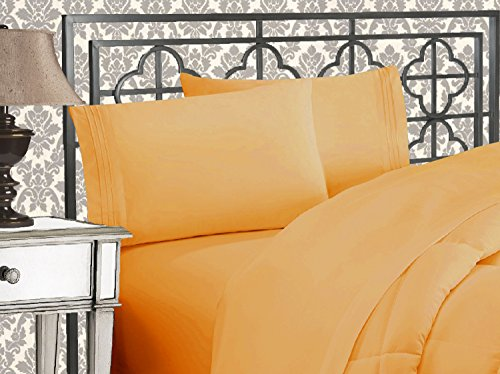 Elegant Comfort Luxurious 1500 Thread Count Egyptian Three Line Embroidered Softest Premium Hotel Quality 4-Piece Bed Sheet Set, Queen, Camel-Gold