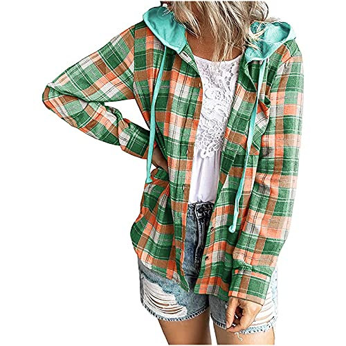 Sudadera con capucha para mujer con diseño de cuadros, estilo informal, holgada, con botones, manga larga, ligera, con botones, verde, S