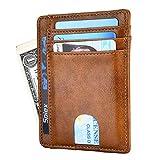 Dlife Tarjetero RFID Cartera Crédito, Tarjetera con Seguridad RFID, Cartera Inteligente de Piel auténtica para Hombres y Mujeres (Marrón Claro)