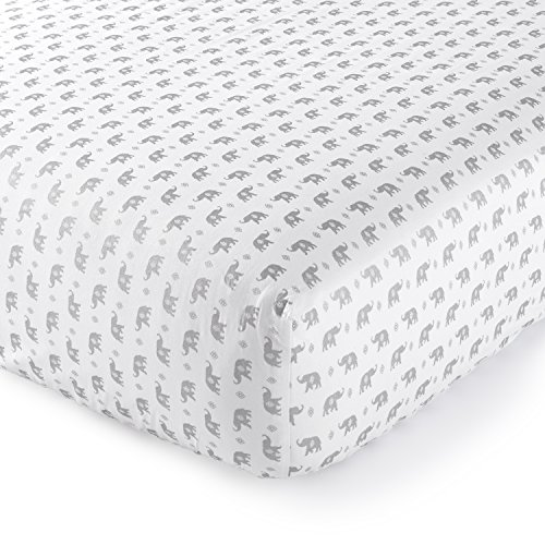 Levtex Home Baby Malawi Silver Elephants Collection Print Fitted Crib Sheet