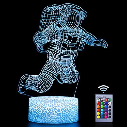 Astronaut 3D Lampe,Dimmbare 3D Nachtlicht 16 Farben Ändern Kinder Geschenke mit Fernbedienung Led Spaceman Rocket Illusion Lampe für Wohnkultur Spiel Kinder