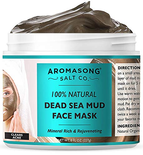 100% PURE & Natural Dead Sea Mud Mask NO INGREDIENTS ADDED, 5 Minute mask - Acne Treatment, Blackhead Remover, Anti-Aging, Pore Minimizer Face Mask, Facial Beauty Masks for Women & Men