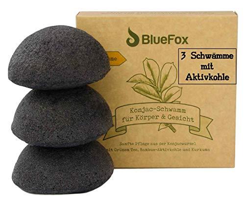 BlueFox Konjac Schwamm 3er Set Bambus Aktivkohle, Gesichtsreinigung für unreine und Mischhaut, Gesichtsschwamm, Gesichtspflege, Schminke, bio facial sponge, Peeling der Haut, reine Poren, schwarz