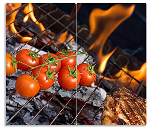 Wallario Herdabdeckplatte/Spritzschutz aus Glas, 2-teilig, 60x52cm, für Ceran- und Induktionsherde, Tomaten und Steak auf einem Grill