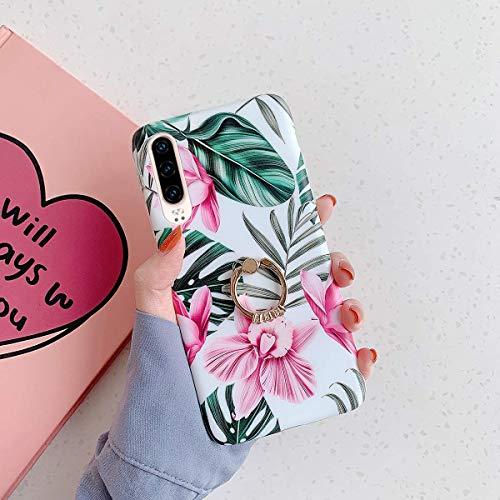 Uposao Kompatibel mit Huawei P30 Lite Hülle Silikon Ultra Dünn Handyhülle mit Ringhalter Ständer Bunt Blumen Blätter Muster Schutzhülle Weiche Silikonhülle Crystal Clear Case,Rosa