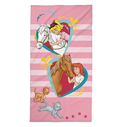 Tex idea Bibi e Tina - Telo mare con cavalli, cuori, ragazza, 75 x 150 cm, 100% cotone velours, rosa
