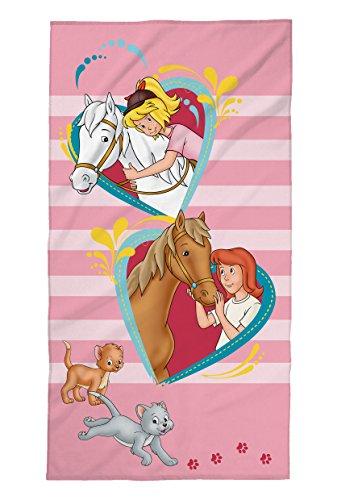 Tex idea Bibi und Tina Strandtuch mit Pferde, Herzen, Mädchen, Badetuch Schwimmbadtuch 75x150 cm, 100% Baumwolle Velours, Rosa,