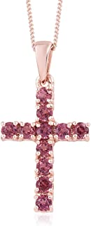 Mix Metal Gold Plated Round Rose Garnet Cross Pendant Necklace Gift 20'' for Women