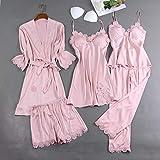YUHOOE Damen Nachtwäsche Set,5 Stück Satin Pyjama Lady Kimono Bademantel Kleid Schlaf Set Spitze Nachthemd Nachtwäsche Sexy Braut Hochzeit Geschenk Nachtwäsche Pyjama Rosa, M.