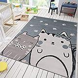VIMODA Teppich Kätzchen Katze Kinder Zimmer für Kinder Flauschig Qualität Kunstfaser, Maße:160x230 cm
