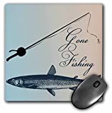 3dRose 8 x 8 x 0.25 Inches Mouse Pad, Gone Fishing Fish with Pole Beach Theme Art (mp_99326_1)