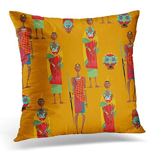 Awowee Funda de cojín de 50 x 50 cm, diseño de pareja de maasai con patrón de vestido tradicional Masai, decoración del hogar, funda de almohada cuadrada para sofá de cama