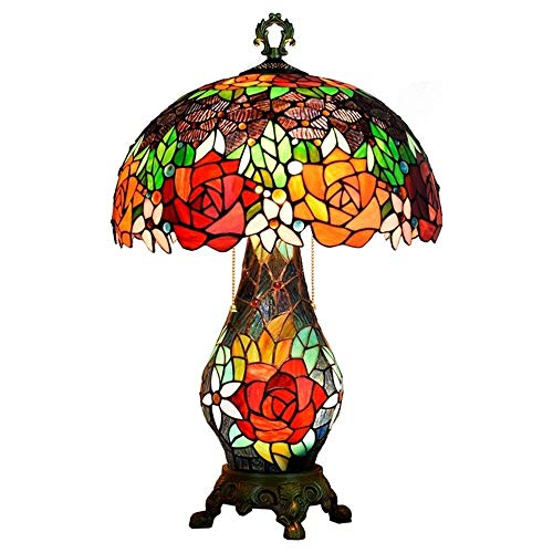 "KELITINAus 16"" Classic Rose Table Lamp European Style Luxurious Living Room Bedroom Decorative Table Light Stained Glass Style Art Lighting Fixture"