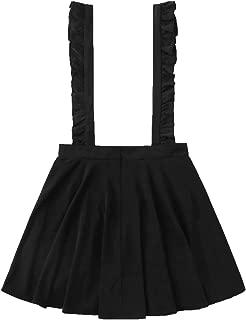 MAKEMECHIC - Falda con Tirantes para Mujer, Estilo Informal, Cintura Alta, con Falda, Negro 1, S