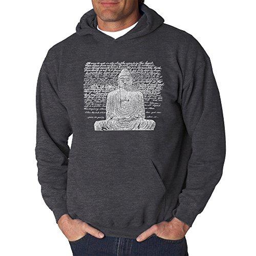 Men's Word Art Hooded Sweatshirt - Zen Buddha- LA Pop Art Grey