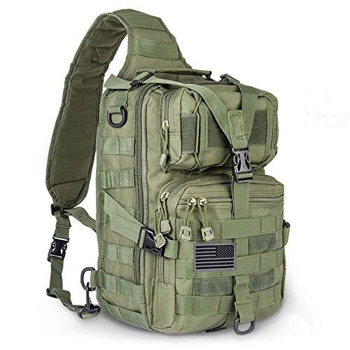 Hopopower Tactical Sling Bag Pack Military Rover Schulterschlinge Rucksack Daypack, Herren, Grün , Small
