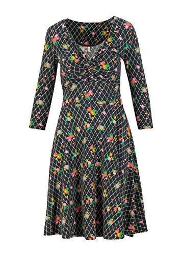 Blutsgeschwister Kleid hot Knot Robe 3/4arm Knielang Sommerkleid V-Ausschnitt (Schwarz, s)