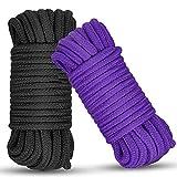 Soft Cotton Rope, 2 Pcs 32 Feet 10 Meter Multipurpose Durable Long Rope. Soft Tying Rope Cord(Purple + Black)